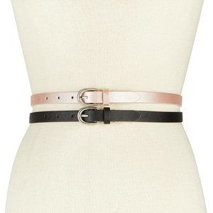 INC 2-for-1 Solid Belts Size Large Pink and Black